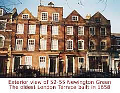 Exterior view of 52 -55 Newington Green - The oldest London terrace built in 1658
