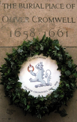 The wreath on the burial plaque