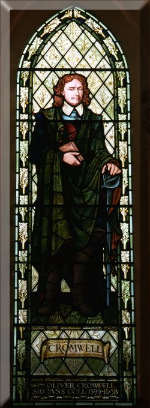 Picture of Cromwell in a Stained Glass window at Cambridge